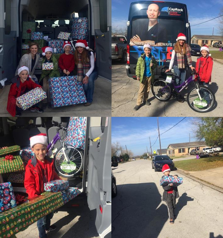 CapRock Team & Family Delivering Gifts
